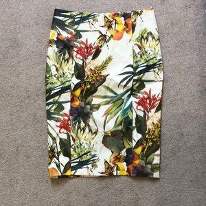 Luna floral faux leather pencil skirt Sz M